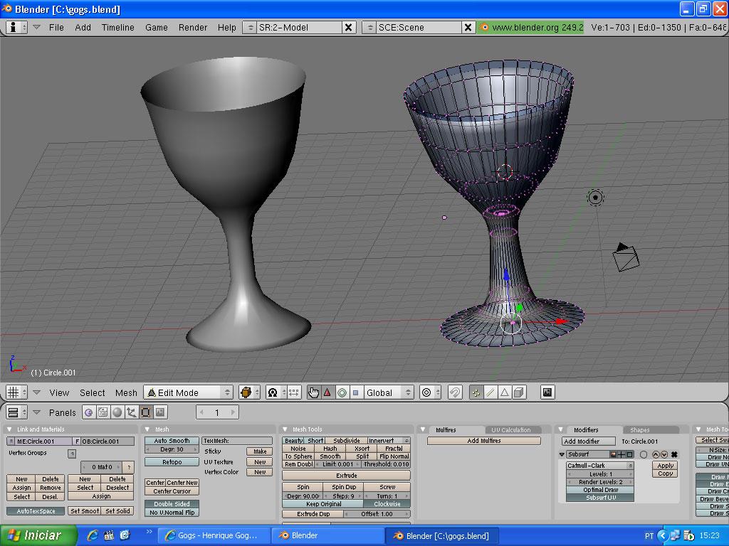 Taça desenhada em Blender